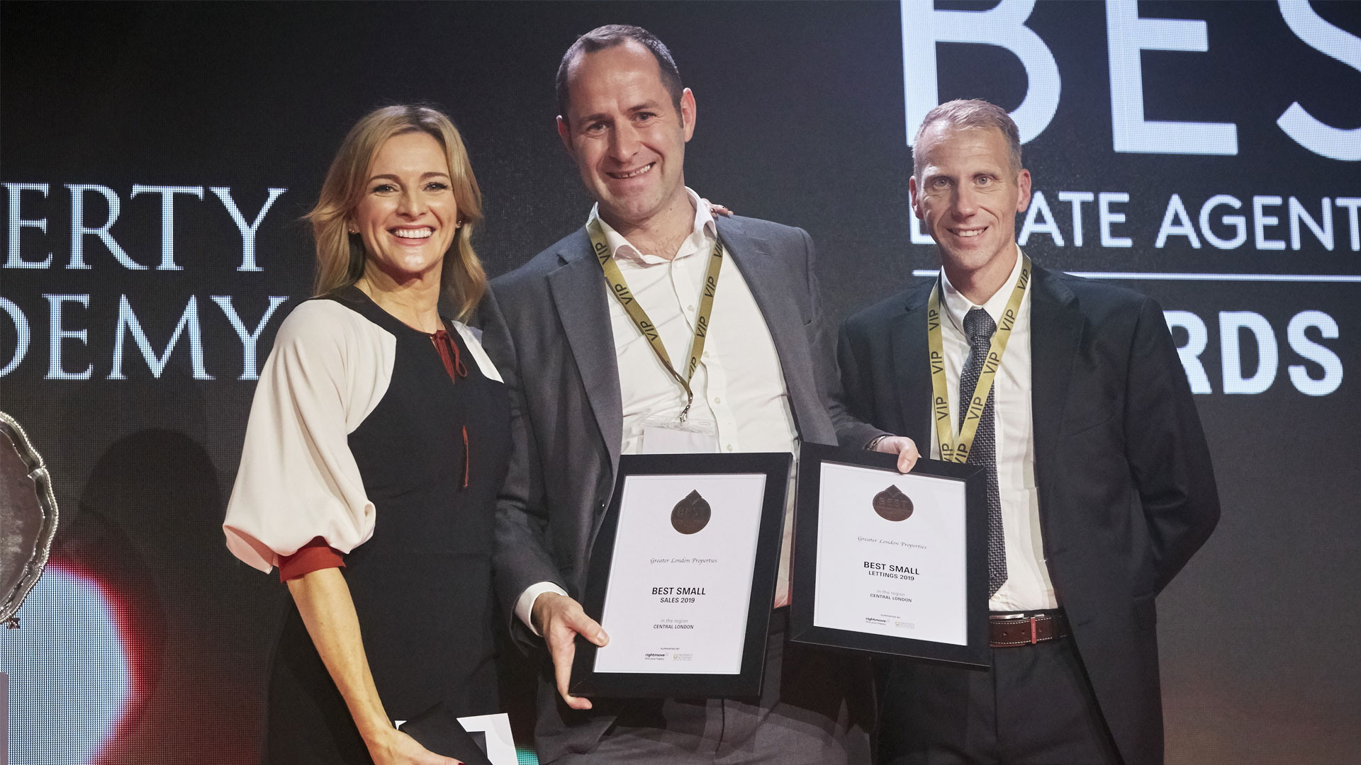 Best estate agent london 2019 award with gabby logan